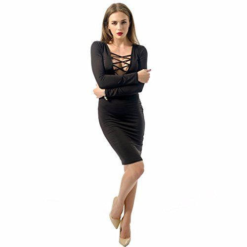 QIYUN.Z Les Femmes a Manches Longues Poitrine Bandage Moulante Clubwear Parti Robe De Cou Mince En V Profond Noir