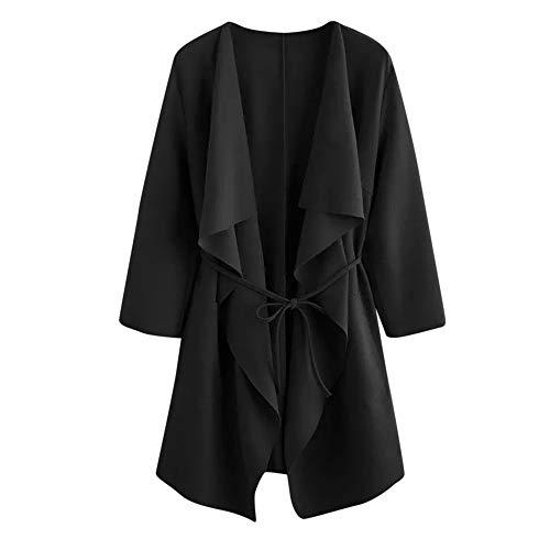 Zip Front T-shirt Kleid (FRAUIT Chiffon Kleid Taschen-Front-Verpackungs-Mantel-Jacke Damen Outwear Frauen Mädchen Einfarbig T-Shirt Langarmshirt Pullover Hemdkleid Shirtkleid Blusenkleid Sweatshirt S-2XL)