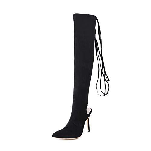 YAN Damen Lange Stiefel, Wildleder Damen Kleid Schuhe Oberschenkel hoch über dem Knie Sexy Hohl Stiefel Riemen Spitzen Stiefel Partei (Farbe : Schwarz, Größe : 37)