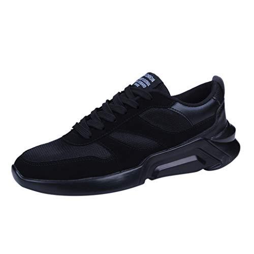 ZHANSANFM Sportschuhe Herren Laufschuhe Atmungsaktiv Straßenlaufschuhe Fitness Trekking Sneaker Air Cushion Turnschuhe Leichtgewicht Jogging Running Gr.39-44(39Schwarz -