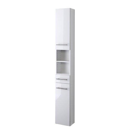 Held Möbel 140.2096 Parma Seitenschrank , 2 türig / 1 Schubkasten / 3 Einlegeböden / 25 x 181 x 20 cm, Hochglanz-weiß