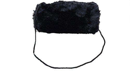 Muff Pelzmuff Nerz Handschuh Handwärmer Pelz Webpelz zum umhängen viele Farben, Farbe:Schwarz