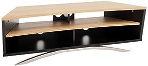 TECHLINK PR130SBLO Prisma Contemporary and Light Oak Stand for Upto 65-Inch TV - Satin Black