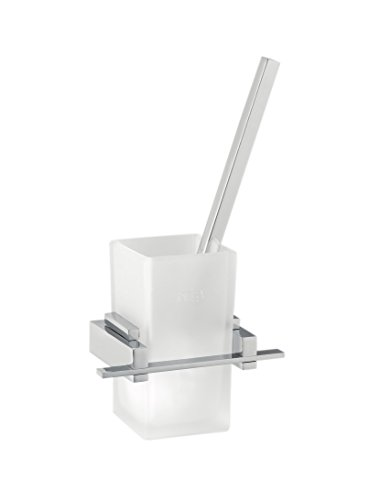 Satin Glas Röhre Suspended WC-Bürstenhalter Basic Chrom Design Basic Fettabsaugung Badezimmer -