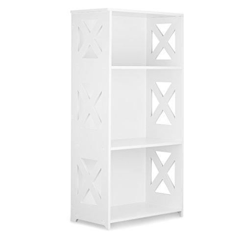 Finether weißesRegal Stehregal StandregalSteckregal Schuhregal Bücherregal für Wohnzimmer Badezimmerzur Aufbewahrung von Bücher Schuhe Toilettenartikel aus WPC wasserdicht 3 Böden 40 x 22 x 80 cm weiß