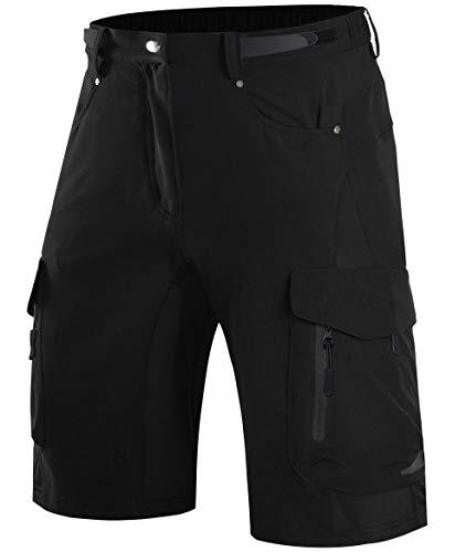 Wespornow Herren MTB Hose, Outdoor Sport Bike Shorts Fahrradhose für Herren (Schwarz-1, XL(Taille:34''-36''/86-91.5CM))