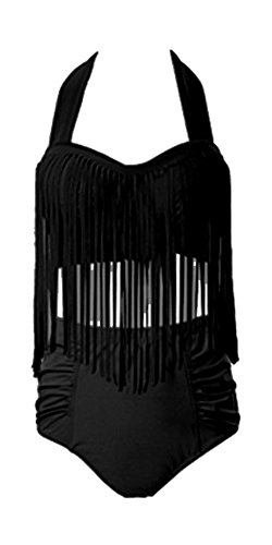 Perfashion Frauen Groß Größe High Waist Bademode Franse Troddel Bikini Badeanzug, Schwarz, EU 48/3XL (Schwarz Solid-bikini-badeanzug)