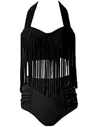 Perfashion Frauen Groß Größe High Waist Bademode Franse Troddel Bikini Badeanzug