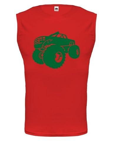 Tank Top Monster Truck-XXL-Red-Bottlegreen
