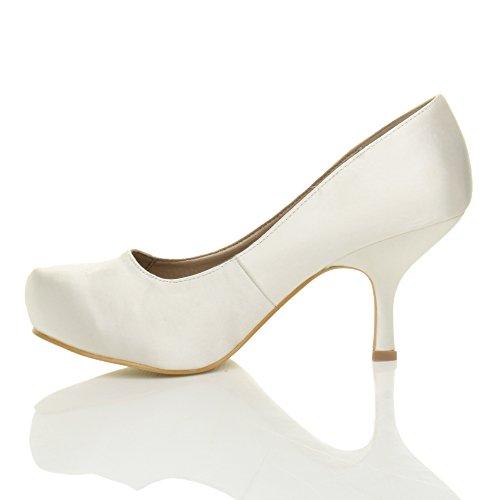 Damen Kleiner Mittel Absatz Versteckte Plateau Arbeit Fesch Schuhe Pumps Größe Weiß Satin
