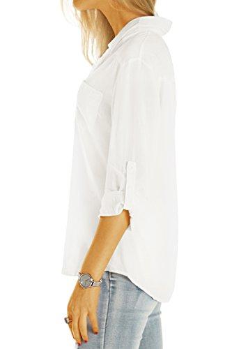 Bestyledberlin Damen Blusen, Klassische Damenblusen, Halbtransparente Basic Hemden t51z Light White