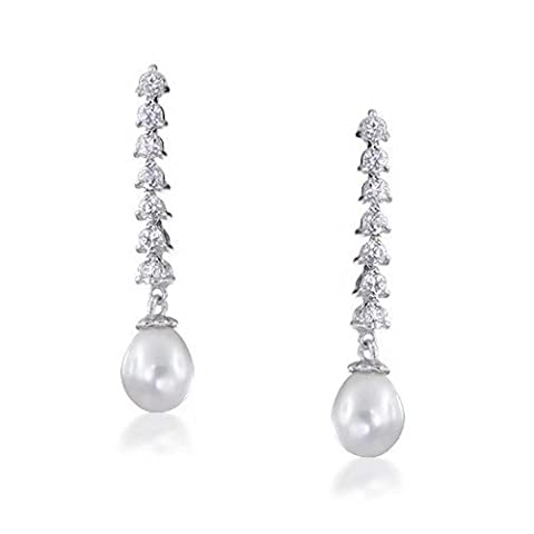 Bling Jewelry CZ Perles de culture d'eau douce 8mm boucles d'oreilles lustre en laiton Rhodié