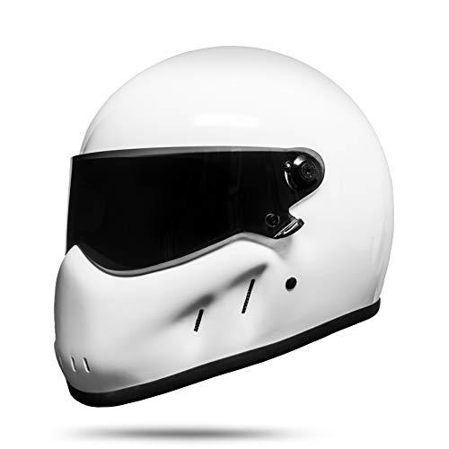 ATO Moto Night - Casco integrale da motociclista, colore nero opaco bianco S M L XL