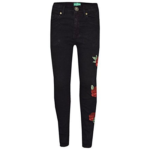 A2Z 4 Kids® Girls Stretchy Jeans Kids - Girls Jeans Embroidered 1 Black 11-12