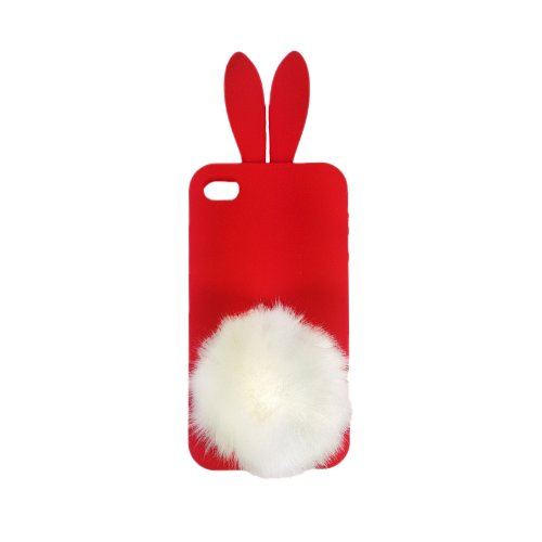 handy-point Silikonhülle Gummi Silikon Schale Schutzschale Schutzhülle Handyschale Handyhülle Hülle Gummihülle Hase für iPhone 4, 4G, 4S, Rot Rot