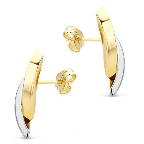 Orovi Damen Ohrringe Bicolor Gelbgold und Weißgold Ohrstecker gekreuzt 14 Karat (585) Gold