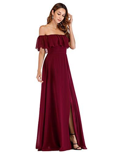 Ever-Pretty Damen A-Linie Abendkleid schulterfrei Dunkelrot 52