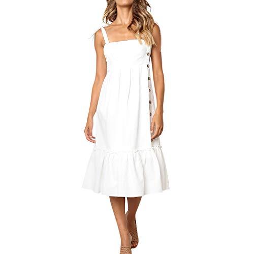 n Sexy Knöpfe aus Schulter ärmelloses Kleid Prinzessin Kleid Blusenkleid Faltenkleid Ballkleid Partykleid Cocktailkleid(Weiß, L) ()