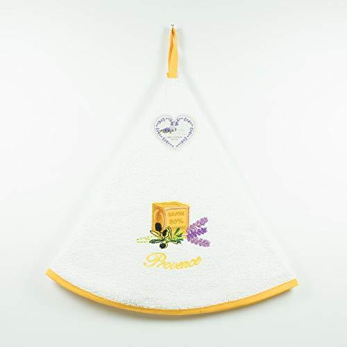 villagesdeprovence.net Essuie-Mains éponge Un Savon - Cuisine/Salle de Bain - Rond avec Attache - Très Design - Lavable en Machine - 100% Coton - Torchon (Blanc)