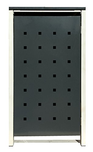 BBT@ | Hochwertige Mülltonnenbox für 3 Tonnen je 240 Liter mit Klappdeckel in Grau / Aus stabilem pulver-beschichtetem Metall / Stanzung 2 / In verschiedenen Farben sowie mit unterschiedlichen Blech-Stanzungen erhältlich / Mülltonnenverkleidung Müllboxen Müllcontainer - 8