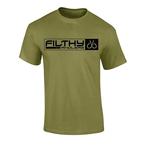 Filthy Anglers Herren T-Shirt mit amerikanischer Militärflagge, Herren, Military Green, X-Large -