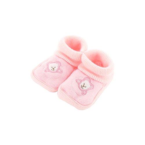 Chaussons pour bébé 0 à 3 Mois rose - Motif Ourson Lune