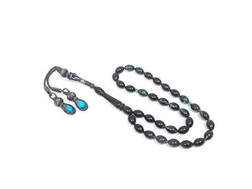 Gök-Türk 925 Sterling Silber Gebetskette - Tesbih 33 Perlen Tasbih Islam Muslim - Bernstein Farbe Kehribar Blau (Muslimischen Perlen Halskette Gebet)