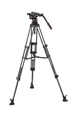 Manfrotto MVKN12TWINMC Nitrotech N12 Professioneller Fluid Videokopf (mit Doppelrohr Carbon-Stativ und Mittelspinne für DSLR, Spiegellose, Video- und Filmkameras bis zu 12 kg)