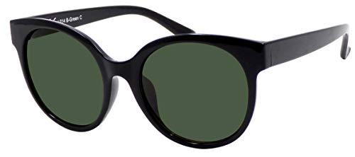 La Optica B.L.M. UV 400 CAT 3 Unisex Damen Frauen Sonnenbrille Rund Groß - Einzelpack Glänzend Schwarz (Gläser: Grün klassisch)_LO14 B-Green C