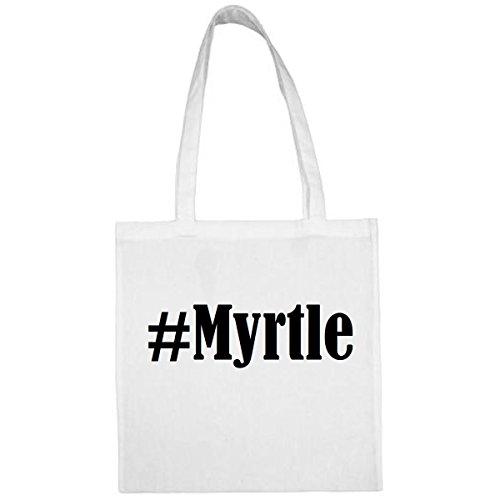 Tasche #Myrtle Größe 38x42 Farbe Weiss Druck Schwarz