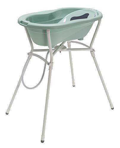 Rotho Babydesign Set per bagnetto completo con Vaschetta e Cavalletto, 0-12 mesi, Max 25 kg, TOP, Swedish Green (Verde menta), 21060026601