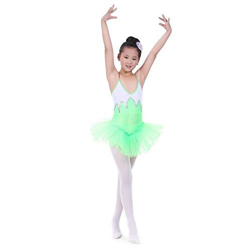 Front Kostüm Dress - Ballettkleid für Kinder Mädchen Skirted Trikot Sparkle Camisole Tutu Ballettkleid Front GefüttertRocked Trikot Kinder Tanzkleidung Kostüme Performance Training Dress ( Farbe : Grün , Größe : M )