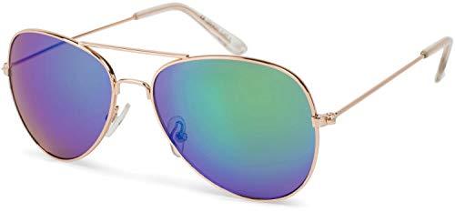 styleBREAKER Kinder Pilotenbrille mit Edelstahl Metall Gestell, Sonnenbrille 09020059, Farbe:Gestell Gold/Glas Grün-Blau verspiegelt