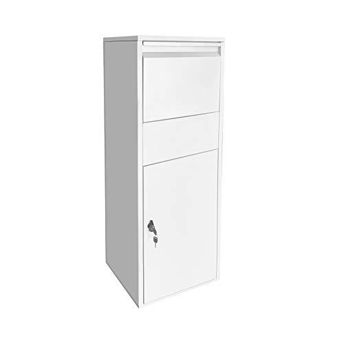 Paketbox Standbriefkasten weiß Paketannahme für Zuhause passend für Pakete der Größe S und L
