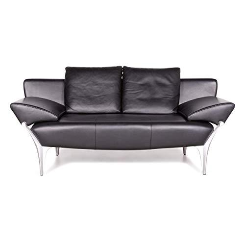 Rolf Benz 1600 Designer Leder Sofa Schwarz Echtleder Zweisitzer Couch #7923