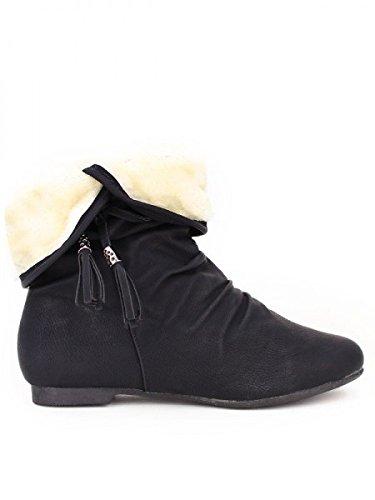 Cendriyon, Bottine Noire Fourrée DAYLE Chaussures Femme Noir