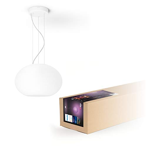 Philips Hue White and Color Ambiance LED Pendelleuchte Flourish, dimmbar, steuerbar via App, kompatibel mit Amazon Alexa, weiß