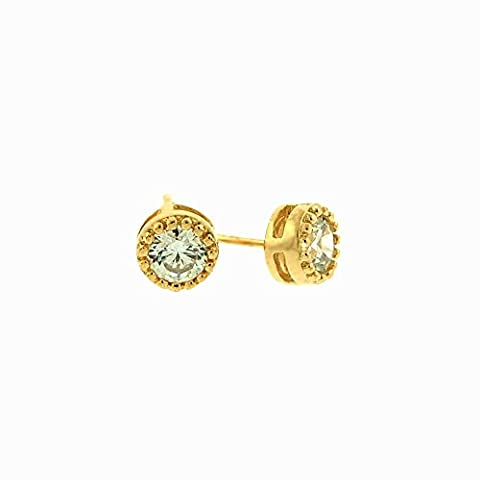 iJewelry2 Yellow Gold Tone Bezel Basket Sterling Silver Round Beaded Caviar Detail Unisex Stud