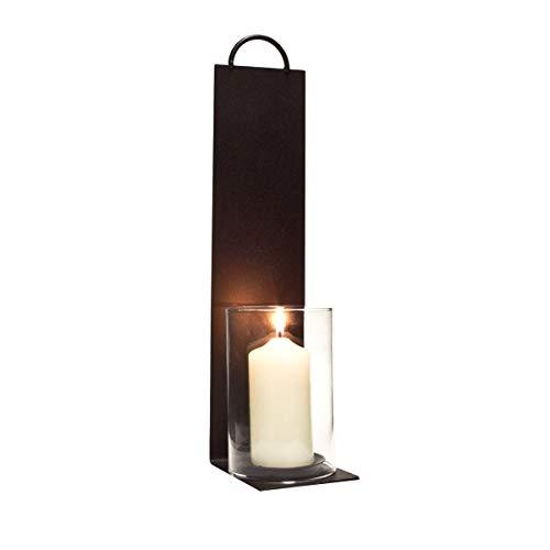 Varia Living Wandwindlicht aus Metall in schwarz Leuchter für die Wand mit Glaszylinder für große Kerze als Kerzenständer | schöne Wand Dekoration im modernen Vintage Shabby Look | Wandleuchter - Kerze-halter-wand-dekoration