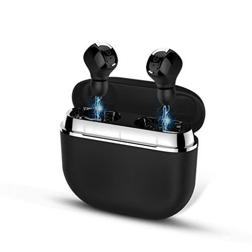 HSKB Bluetooth Kopfhörer, Wrieless Sport in Ear Ohrhörer Bluetooth V5.0 IPX67 wasserdichte Stereo Sound mit Mikrofon Mini Ladebox Noise Cancelling Headset für iPhone für Samsung für Huawei (Schwarz) -