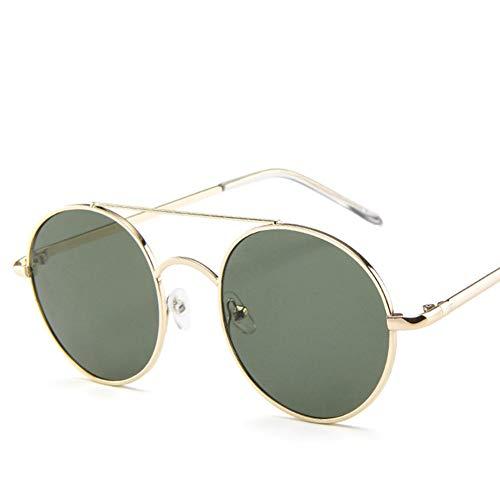 Yiwa Retro-Sonnenbrille, rund, Metallrahmen, Punk Sonnenbrille, zum Aufhängen, Street-Selfie-Selfie-Sonnenbrille, Gold Frame Dark Green Lens