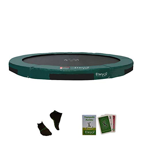 Etan Hi-Flyer Outdoor Boden Trampolin - Inground Gartentrampolin mit UV-beständiges Randabdeckung mit starkem PVC - eingegraben in-ground Kinder Trampolin - Rund - Grün - Ø 427 cm