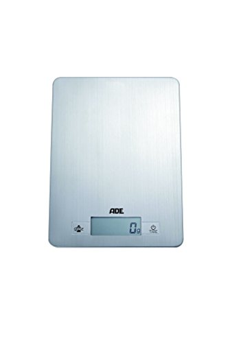 ADE Digitale Küchenwaage KE 874 Denise. Elektronische Waage, extrem flach, mit Wiegefläche aus gebürstetem Edelstahl für präzises Wiegen bis 5kg. Mit Zuwiegefunktion (Tara). Inkl. Batterie. Silber