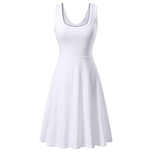 ... Sommerkleid Traeger Mit Flatterndem Rock Damen Ärmelloses Beiläufiges  Strandkleid Sommerkleid Tank Kleid Ausgestelltes Trägerkleid Knielang (XL,  Weiß)