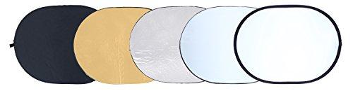 Rollei Profi 5 in 1 Faltreflektor 92 x 122 cm - Ovaler Faltreflektor mit verschiedenen Bezügen (Diffusor und Silberner-, Goldener-,...