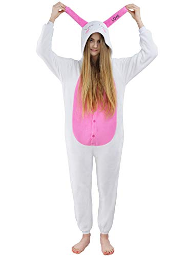Unbekannt Damen Fleece Einteiler Nachtwäsche Pyjama Kostüm Kapuze Love Bunny rosa Gr. S (Bunny Pyjamas Kostüm)