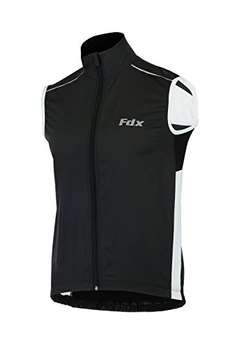 FDX, gilet da ciclismo da uomo, impermeabile, antivento, pieghevole, traspirante Black/White X-Large