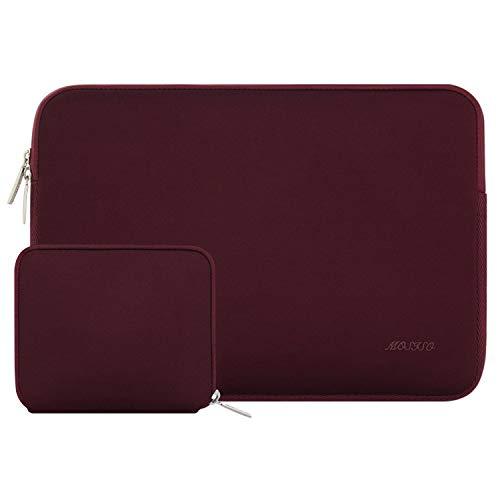 MOSISO Sleeve Hülle Tasche Kompatibel 15-15,6 Zoll MacBook Pro, Notebook Computer Wasserabweisend Neopren Laptophülle Laptoptasche Notebooktasche mit Kleinen Fall, Weinrot