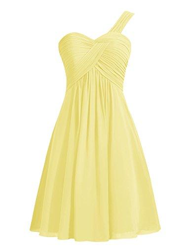 Dresstells, Épaule asymétrique robe de demoiselle d'honneur, robe de cocktail en mousseline Lavande