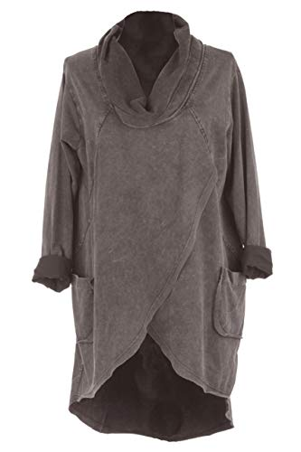 TEXTURE Womens Italian Lagenlook Acid Wash Long Sleeves Cowl Flap Front Cotton Tunic Midi Dress (Mocha, One Size) Cowl Front Jersey Dress